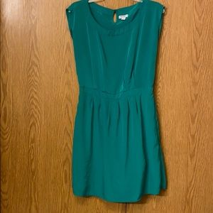 Green silky dress